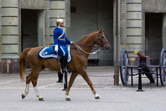 STOCKHOLM - JULY 23: Changing of the guard ceremony with the participation of the Royal  Guard cavalry Stock Photography