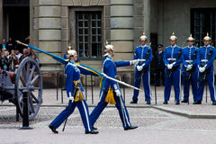 STOCKHOLM - JULY 23: Changing of the guard ceremony with the participation of the Royal  Guard cavalry. Juli 23, 2013 in Stockholm, Sweden Stock Images