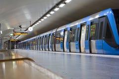 STOCKHOLM-JULY 24: Tunnelbanastation i Stockholm Fotografering för Bildbyråer