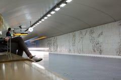 STOCKHOLM-JULY 24: Tunnelbanastation i Stockholm Arkivbilder
