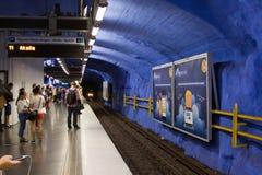 STOCKHOLM-JULY 25: Tunnelbanastation i Stockholm Royaltyfria Bilder