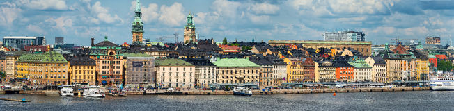 STOCKHOLM - JUNI, 29: Panoramautsikt av Gamla Stan (gammal stad) in Royaltyfri Fotografi