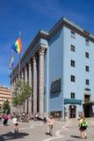 Stockholm konserthall med Stockholm Pride Flags Royaltyfria Bilder