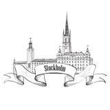 Stockholm label isolated. Travel Sweden symbol. Stockholm Old To Stock Photo