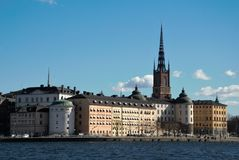 Stockholm landscape. Spring calmness of the morning capital of Scandinavia Stock Image