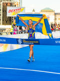 Stockholm - Lisa Nordén at the finishline, Swedish flag, Crying Stock Photography