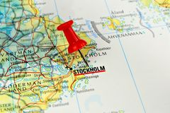 Stockholm map with pin. Close up of Stockholm on a map with red pin Stock Image