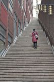 Stockholm, Sweden - Stairway to Heaven. STOCKHOLM - MAY 11: Stairway to Heaven. Main street Kungsgatan cross the long stairs street with the name Royalty Free Stock Image