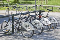 Stockholm, Sweden - Bicycle Rental Station. STOCKHOLM - MAY 13: You find well-organized bicycle Rental Station in center of Stockholm, Sweden on May 13, 2012 Stock Photo