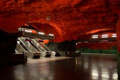 Stockholm metro. An extraordinary metro station in Stockholm stock photo