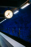 Stockholm Metro Train Station in Blue colors Royalty Free Stock Photography