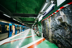 Stockholm Metro Train Station in Blue colors Stock Images