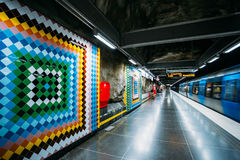 Stockholm Metro Train Station in Blue colors. STOCKHOLM, SWEDEN - JULY 30, 2014: Modern Stockholm Metro Train Station in Blue colors, Sweden. Underground Stock Image