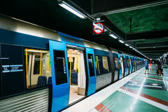 Stockholm Metro Train Station in Blue colors, Sweden Stock Image
