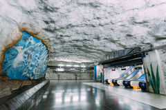 Stockholm Metro Train Station in Blue colors, Sweden Royalty Free Stock Photo