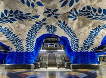 Stockholm metro or tunnelbana central station T-Centralen with i Stock Photography