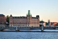 Stockholm na zonsondergang royalty-vrije stock foto