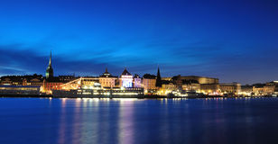 Stockholm-Nacht (gamla stan/alte Stadt) Stockfotografie