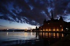 Stockholm-Nachtlichter lizenzfreie stockbilder