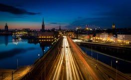 Stockholm-Nachtzeitszene, Schweden lizenzfreies stockbild