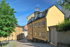 Stockholm.  Narrow street in  Sodermalm Stock Photos