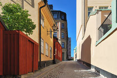Stockholm. Narrow street at Sodermalm Royalty Free Stock Image