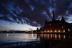 Stockholm night lights Royalty Free Stock Images
