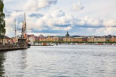Stockholm city view. Stockholm old city with boats, view from sea Stock Photos