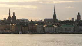 Stockholm old city view at sunset, sweeden stock video footage