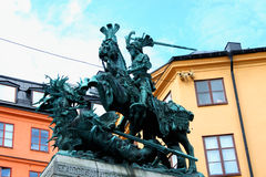 Stockholm. Old sculpture representing a symbol of the city - the Royalty Free Stock Photography