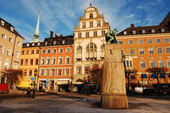 Stockholm, the Old Town. Grain Harbour Square in the Old Town of Stockholm stock images