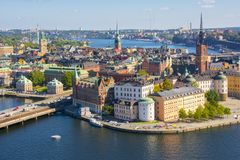 Stockholm old town Gamla Stan panorama from City Hall top, Sweden royalty free stock photos