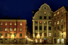 Stockholm Old Town square at night. Stock Images