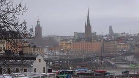 Stockholm på en dyster marsdag sweden lager videofilmer