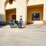 Stockholm palace cannon. Old cannon guards Stockholm Palace Royalty Free Stock Image