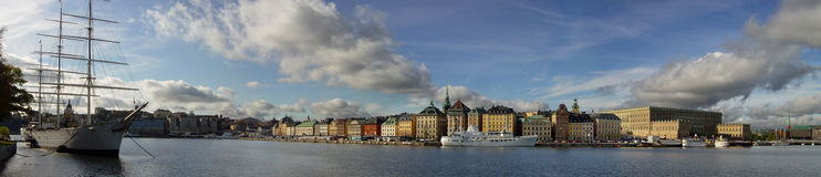 Stockholm Panorama. View of Stockholm Gamla Stan from across the water Royalty Free Stock Photo