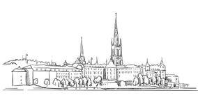 Stockholm-Panorama-berühmte Entwurfs-Markstein-Skizze Stockbilder