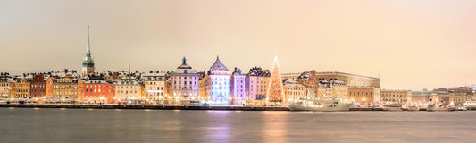 Stockholm Panorama at night royalty free stock photo