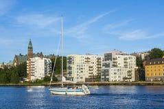 Stockholm par l'eau : Nacka Finnboda Image libre de droits
