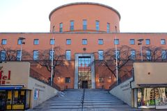 Stockholm Public Library. Stockholm, Sweden - April 1, 2013: Stockholm Public Library by architect Gunnar Asplund is a major architectural landmark in Stockholm stock photos