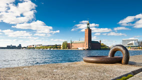 Stockholm quayside and city hall Royalty Free Stock Images