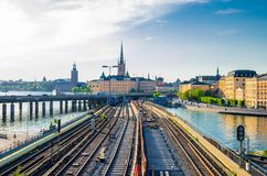 Stockholm railway subway tracks and trains over Lake Malaren, Sw stock images