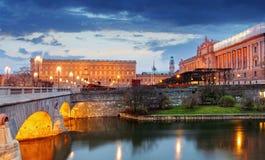 Stockholm - Riksdag, palace and Norrbro Bridge, Sweden Royalty Free Stock Photo