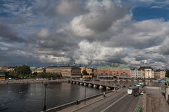 Stockholm riverside. Summer but cold noon at riverside of Stockholm, Sweden Stock Images