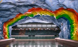 Metro station in Stockholm. Stockholm´s metro station, Rainbow Royalty Free Stock Photography