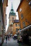STOCKHOLM, SCHWEDEN - 19. AUGUST 2016: Ansicht über St. Gertrudes Churc Lizenzfreies Stockbild