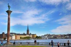 STOCKHOLM, SCHWEDEN - 20. AUGUST 2016: Touristen Weg und Besuch Sto Lizenzfreies Stockbild
