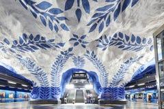STOCKHOLM, SCHWEDEN - 12. Dezember 2017 Stockholm-Untertagemetrostation T-Centralen - eins der schönsten Metrostation lizenzfreies stockbild