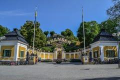 Stockholm, Schweden, am 28. Juli 2014 - Eingang in Skansen Stockbilder