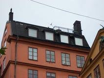 Stockholm, Schweden - Juli 2007: Foto des Hauses auf deren Dach Leben Carlson lizenzfreie stockfotografie